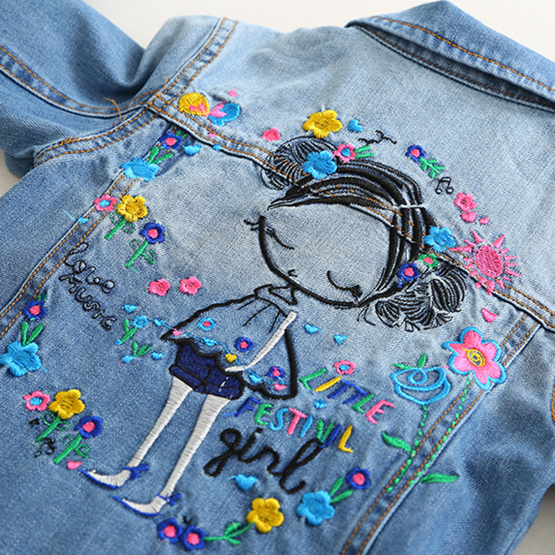children's jacket 2021 spring and autumn new girls fashion denim jacket girls flower embroidery long-sleeved lapel jacket 4