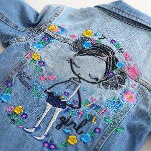 Image 4 - 子供のジャケット 2019 春と秋の新ガールズファッションデニムジャケット女の子の花の刺繍長袖ラペルジャケット