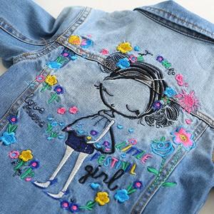 Image 4 - childrens jacket 2019 spring and autumn new girls fashion denim jacket girls flower embroidery long sleeved lapel jacket