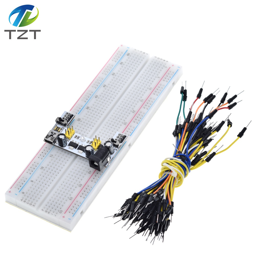 Image 3 - TZT MB102 Breadboard Power Module+MB 102 830 Points Solderless Prototype Bread Board kit +65 Flexible Jumper Wires-in Integrated Circuits from Electronic Components & Supplies