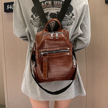 Classic stone women's backpack fashion mini School bag For Girls PU leather travel school shoulder bag student bag