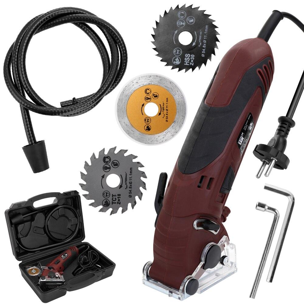 Outils 400W 230-240V multifonctionnel Mini Kit de scie circulaire électrique ensemble de Machine de découpe bricolage lames Guide règle outil de travail du bois
