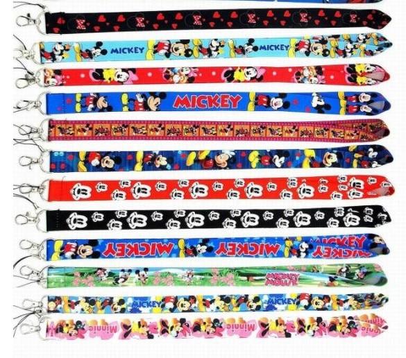 New Cartoon 10 Pcs  Mixed Mickey Minnie Lanyard Key Chains    Gifts Party  Favors S-31