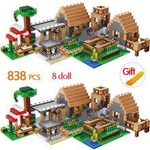 838 шт Строительные блоки на ферме, домики, Наборы Кубиков, игрушки для детей, подарки ко дню рождения