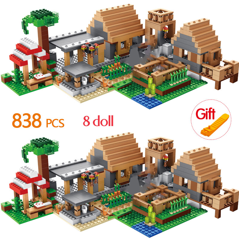 838pcs The Farm Cottage Building Blocks Compatible Legoing My World House Figures Bricks Sets Toys For Kids Brithday Gifts