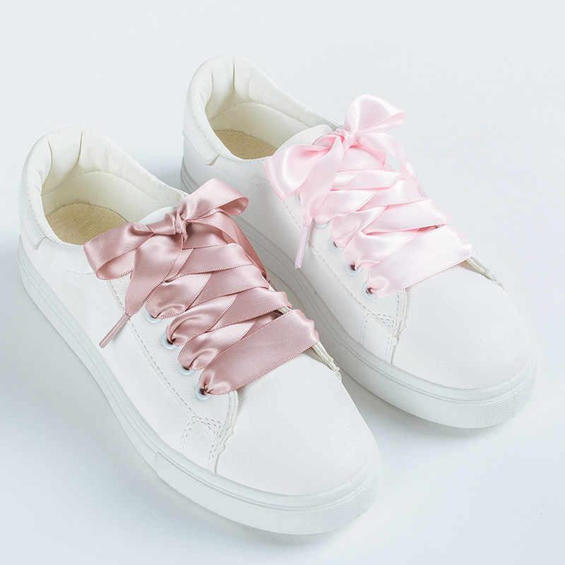 1 คู่ 22 สีซาติน Shoelaces 2 ซม.ความกว้างริบบิ้นแบนรองเท้ารองเท้าผู้หญิงรองเท้าผ้าใบเชือกผูกรองเท้ายาว 80 ซม.100 ซม.120 ซม.S1