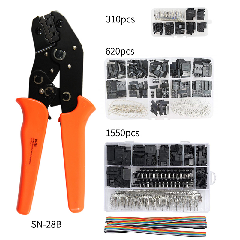 SN 28B 310PCS 620PCS 1550PCS dupont crimping tool kit jst xh crimp pliers terminal ferrule crimper wire hand tool set in Pliers from Tools