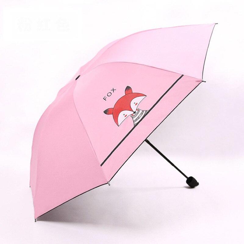 Criativo 3 dobrável dos desenhos animados guarda-chuva das crianças bonito pouco raposa guarda-sol protetor solar revestimento preto crianças presentes meninas guarda-chuva