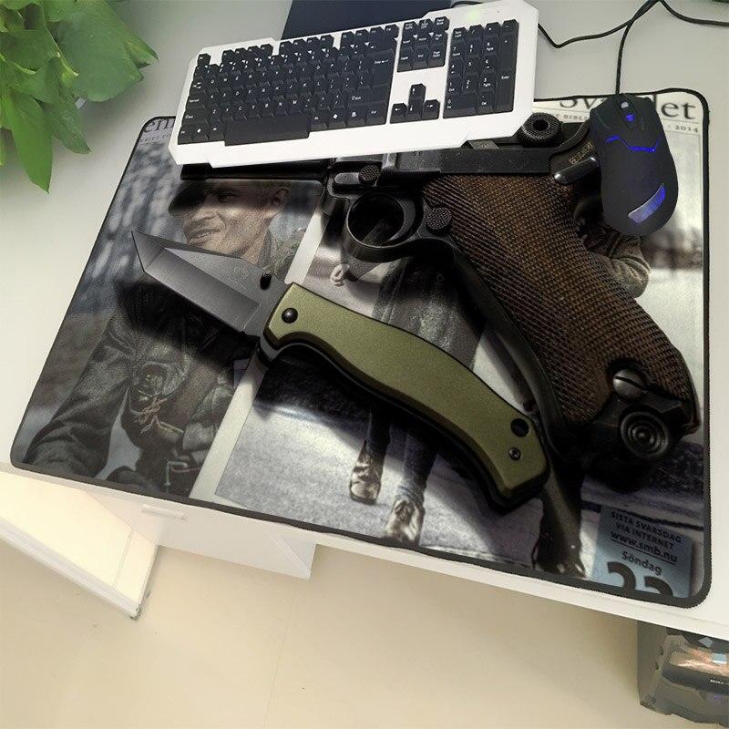 XGZ Guns Enthusiasts Large Size Mouse Pad Lock Pistol Knife Wild Survival Pattern Laptop PC Table Mat Rubber Universal Non-slip