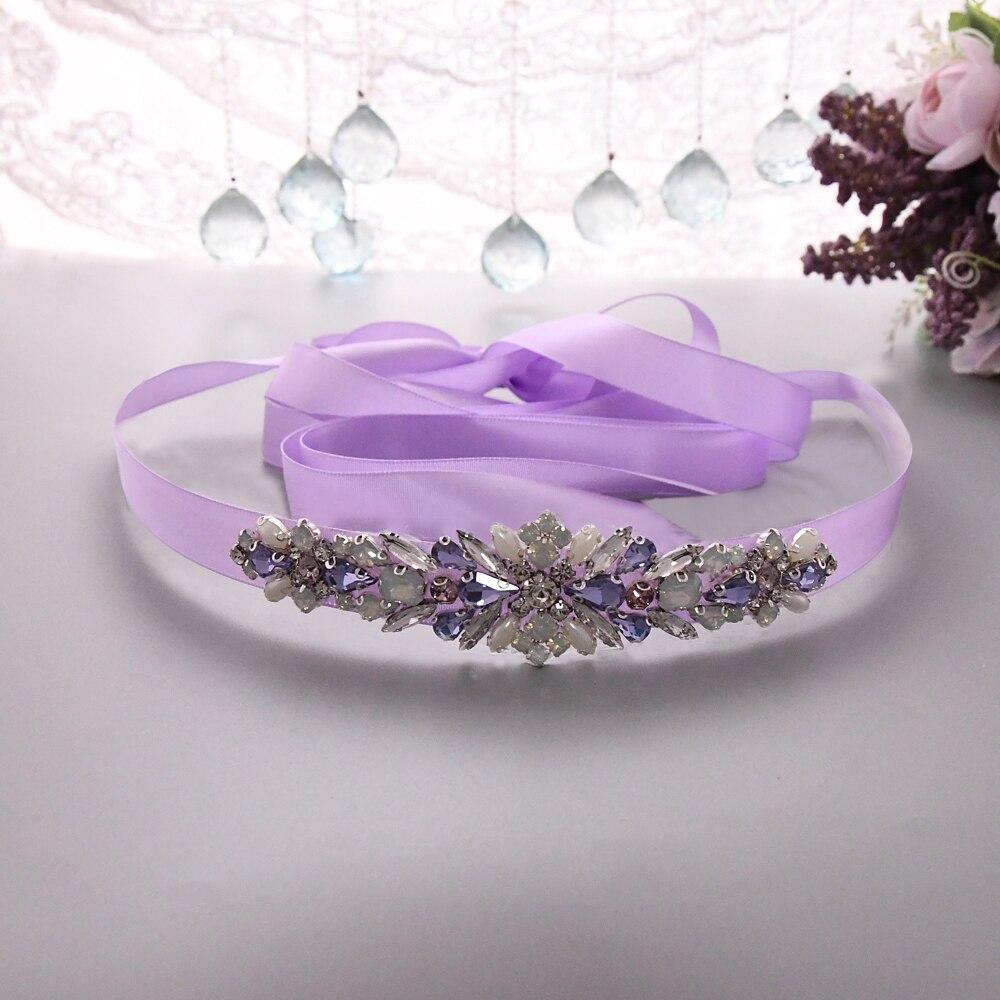TRiXY S451 Colorful Diamonds Belt Rhinestones Bridal Belt Crystal Ribbons Wedding Belt Sash For Bridal Dresses Accessories