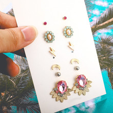 цена на 5Set/Pair Flower Moon Lightning Shape Stud Earrings For Women Large Pink Crystal Alloy Stud Earrings Wedding Jewelry