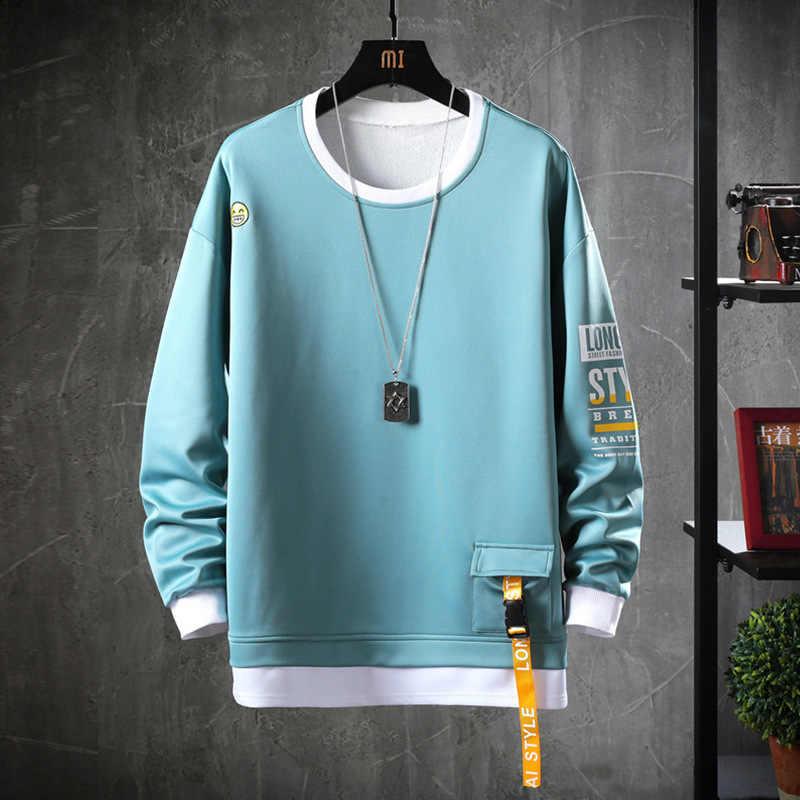 2020 katı renk kazak erkekler Hoodies bahar sonbahar Hoody Casual Streetwear giyim