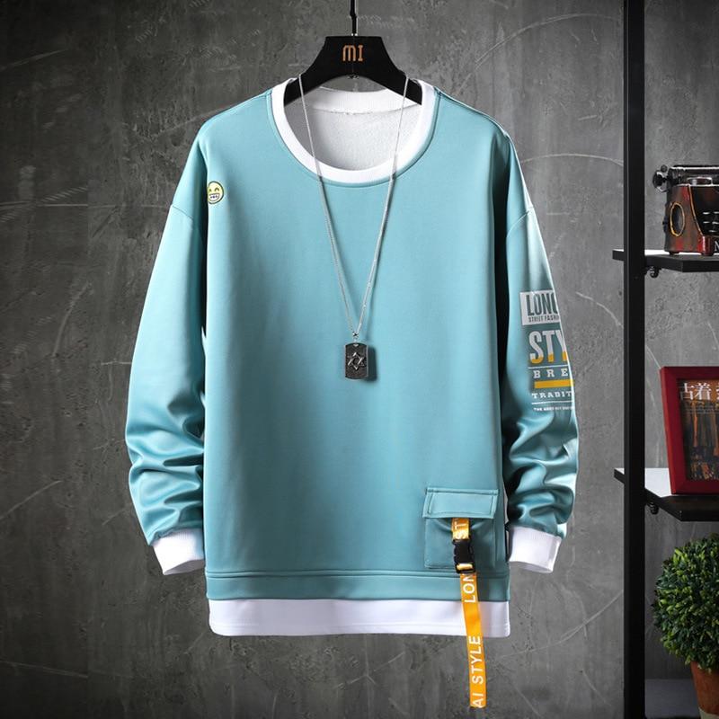HIP HOP 2020 Solid Color Sweatshirt Men Hoodies Spring Autumn Hoody Casual Janpanese Streetwear Clothes