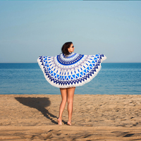 European Style Retro Round Printed Beach Towel Microfiber Quick dry Pool Cushion Portable Travel Towel Daily Supplies /