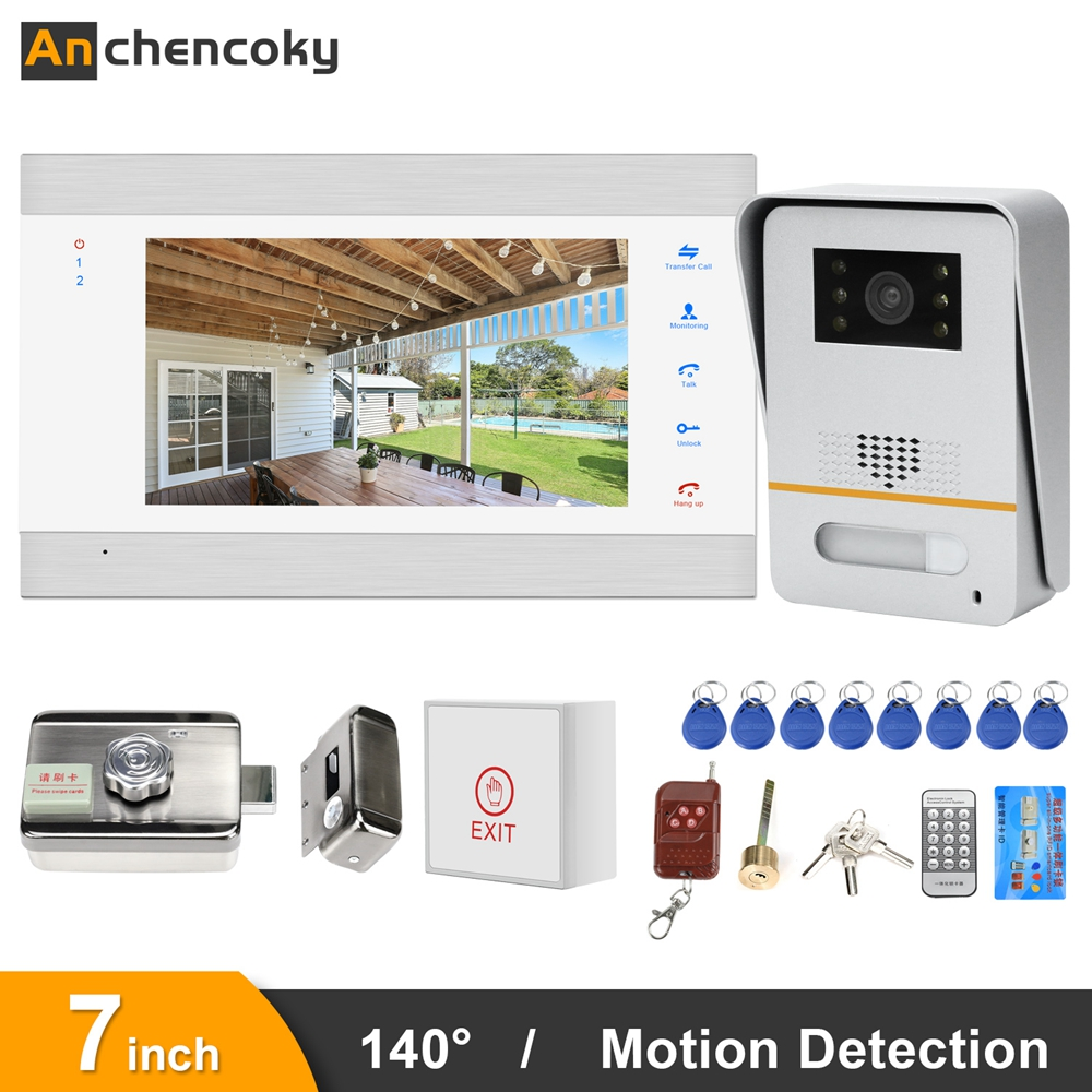 Anchencoky Video Doorbell With Lock 7 Inch Video Intercom 150°IR Video Door Phone With Motion Sensor For Home Access Control Kit