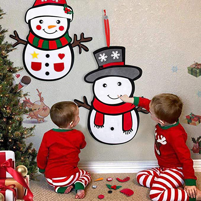 Christmas DIY Non-Woven Fabric Snowman Christmas Tree Decoration Felt Snowman DIY Craft Funny Handcraft Kids Toys Christmas Gift