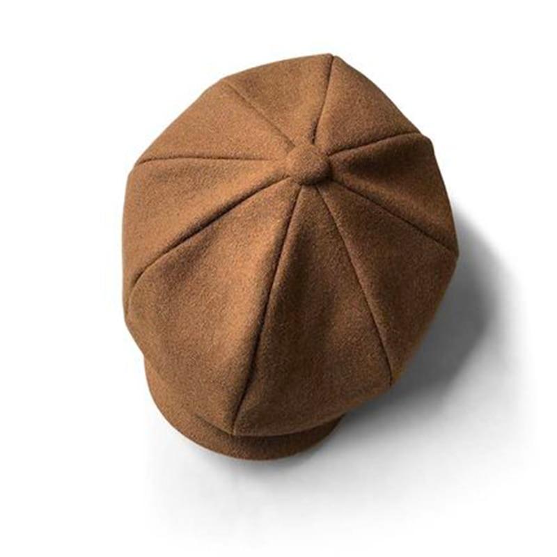 Чёрный; коричневый верблюжья шерсть шляпа человек с закруглёнными краями и пуговицей сверху однотонные кепки твид теплые зимние восьмиуго...