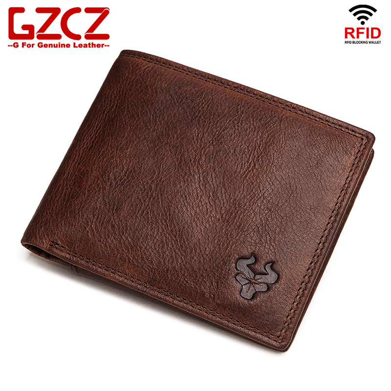 GZCZ Slim Wallet Card-Holder Coin-Purse Portomonee Rfid Crazy-Horse Genuine-Leather Masculina