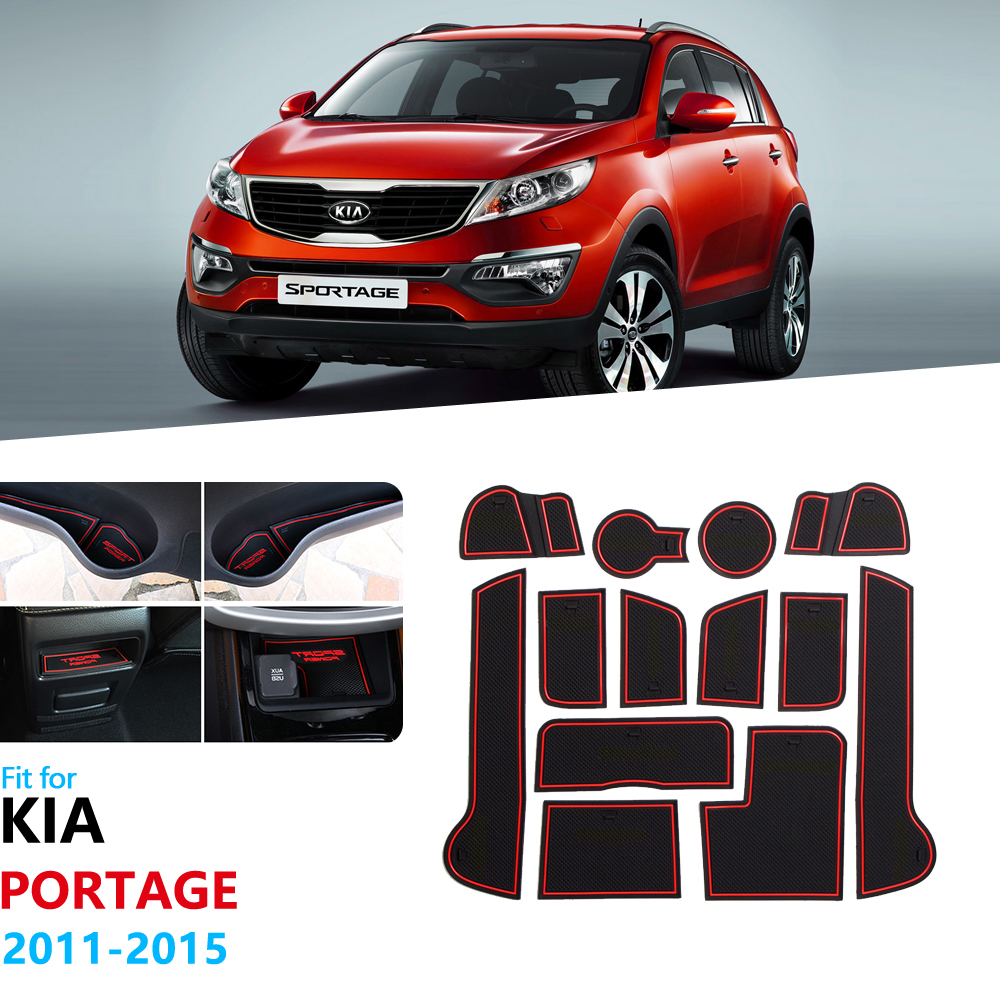 Anti-Slip Rubber Gate Slot Cup Mat For KIA Sportage 2011 2012 2013 2014 2015 MK3 SL R Door Groove Mat Accessories Car Stickers