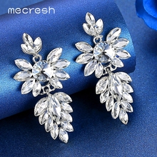 Mecresh Silver Gold Rose Color Leaf Bridal Wedding Earrings Statement Horse Eye Shape Crystal Drop for Women MEH1625