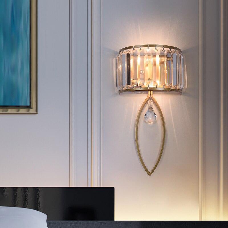 Moderna lâmpada de parede led para o corredor escada luxo cristal arandela corredor sala estar iluminação interior decoração para casa