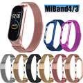 Браслет для Mi Band 4 ремешок Miband 4/3 Металл Нержавеющая сталь Миланский магнитный для Mi Band 4 3 ремешок на запястье браслеты аксессуары