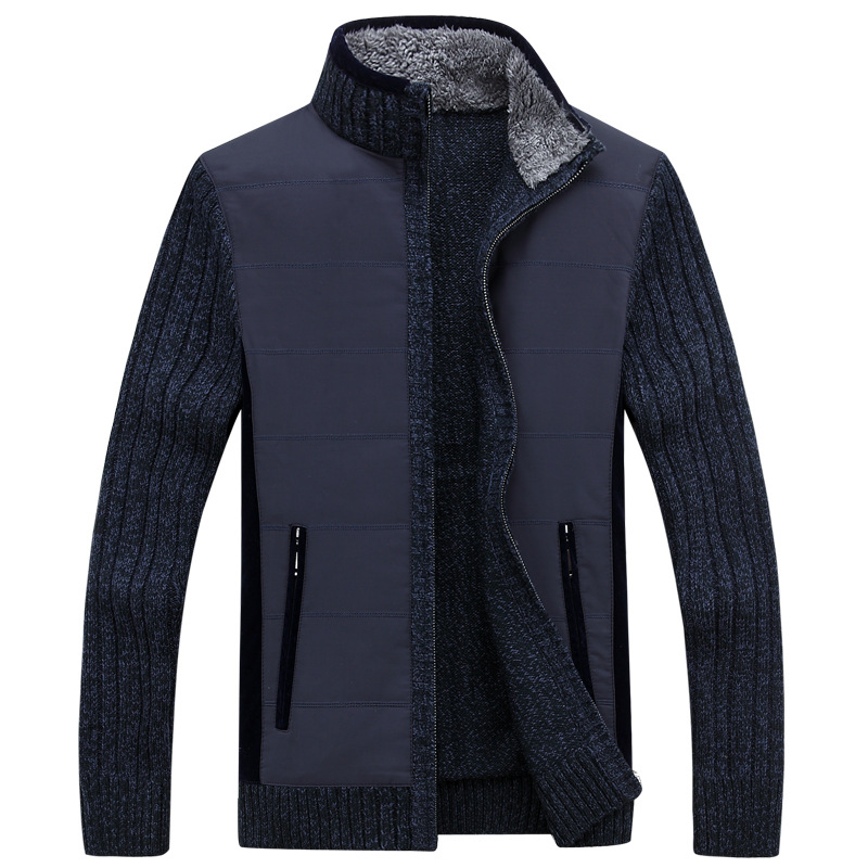Automne hiver chandail hommes Patchwork coupe-vent épais chaud polaire Cardigan hommes col montant laine Liner hommes chandails - 3