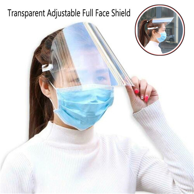 1Pc Safety Adjustable Full Face Shield Clear Flip-Up Visor Plastic Anti-Spitting Saliva-proof Dust-proof Protective Mask
