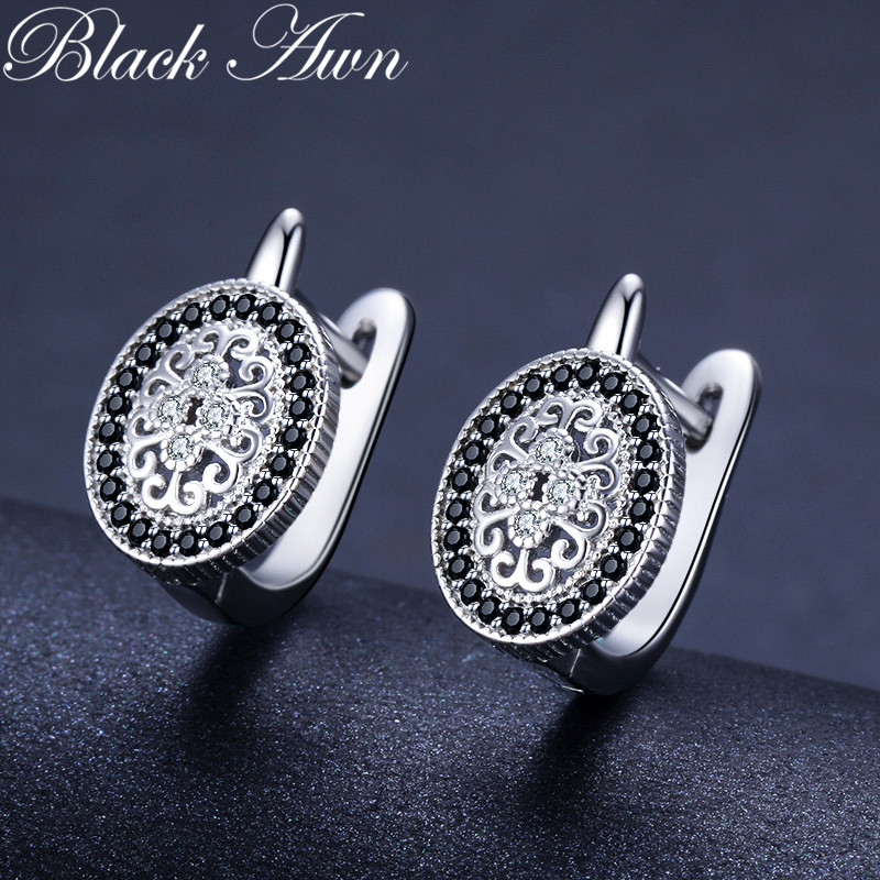 Black Awn 2020 Classic 925 Sterling Silver Round Black Trendy Spinel Engagement Hoop Earrings for Women Fine Jewelry Bijoux I149 2
