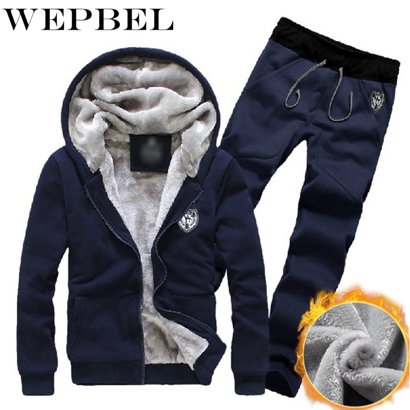 WEPBEL Winter Comfort Single Copper Metal Zipper Design Men's Sport Suits Fleece Sweater Pants Hoodies Set Warm Plus Thick