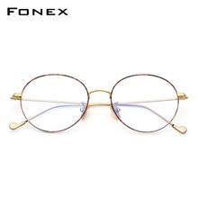 FONEX Puro Occhiali In Titanio Telaio Uomini Rotondi Occhiali Da Vista Occhiali Vintage Miopia Occhiali Da Vista Ottica Donne Occhiali Da Vista