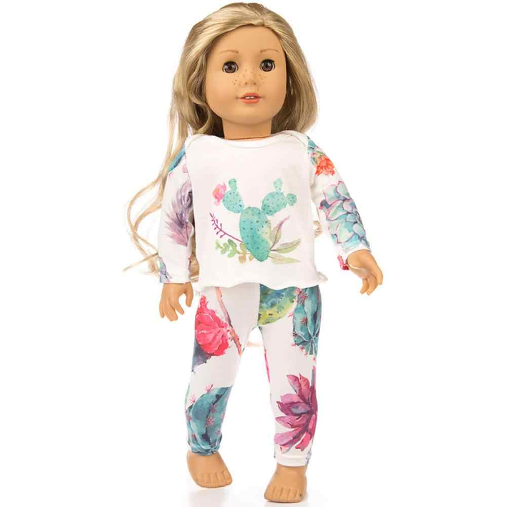 None Cute Printing Pajamas Suit Doll Clothes for 18 Inches Girl Doll Accessories Kid's Birthday Gift