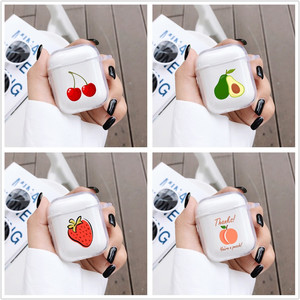 Image 1 - For Airpods 1 2 Transparent Soft Silicone Earphone Case For AirPods Cute Cartoon Fruit Avocado Peach Protective Cover Bluetooth