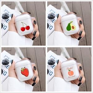 Image 1 - Per Airpods 1 2 Trasparente Molle Del Silicone del Trasduttore Auricolare Per Il Caso di AirPods Simpatico Cartone Animato Frutto di Avocado Pesca di Protezione Della Copertura di Bluetooth