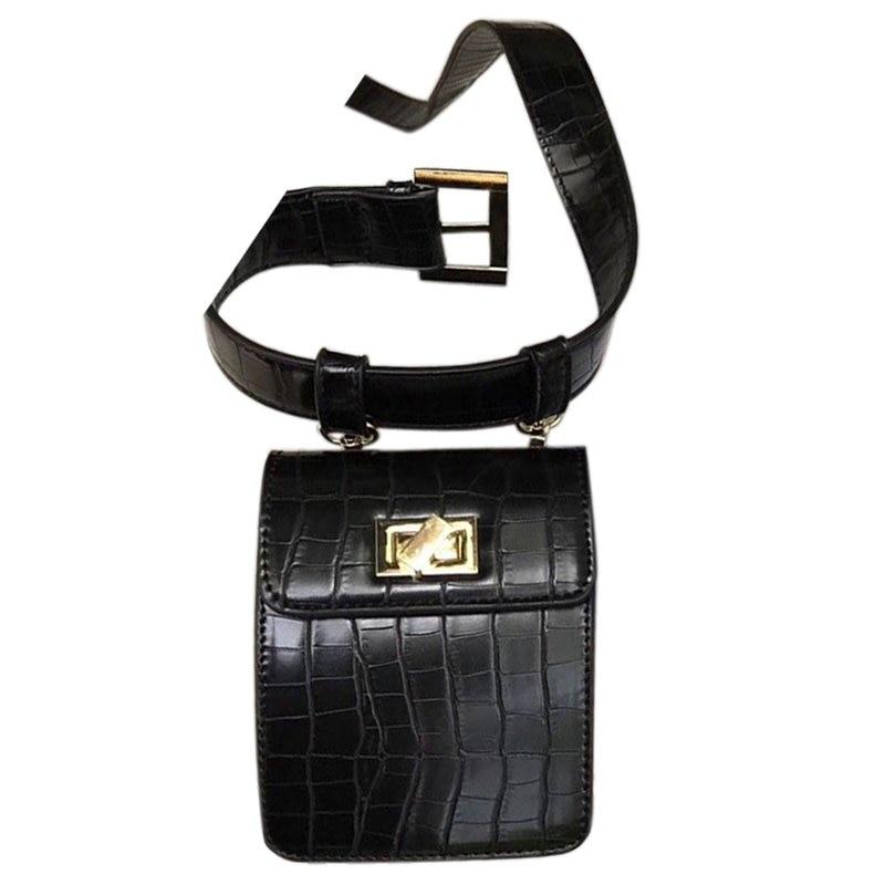 Fashion Alligator Women Crossbody Bag Leather Belt Waist Packs Chic Style Mini Shoulder Bag Vintage Pattern Small Handbag(Black)