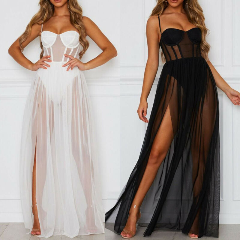 Hirigin Sexy Women Long Dress Swimwear Mesh See Through Bikini Cover-Ups Spaghetti Strap High Split Beach Dresses Bathing Suit
