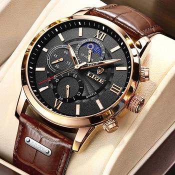 2021 nuevos relojes para hombre en este momento superior de la marca de lujo de cuero reloj de cuarzo Casual de los hombres deporte impermeable reloj Relogio Masculino + caja 1