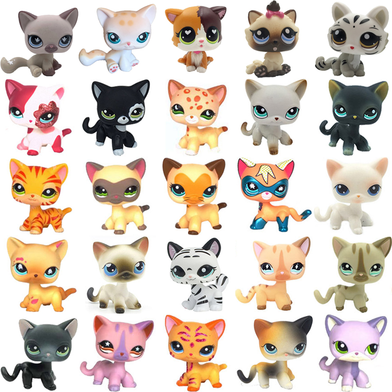 Rare Cat Pet Shop Cute Toys Stands Short Hair Kitten Pink #2291 Grey #5 Black #994 Old Original Kitty  Figure Collection