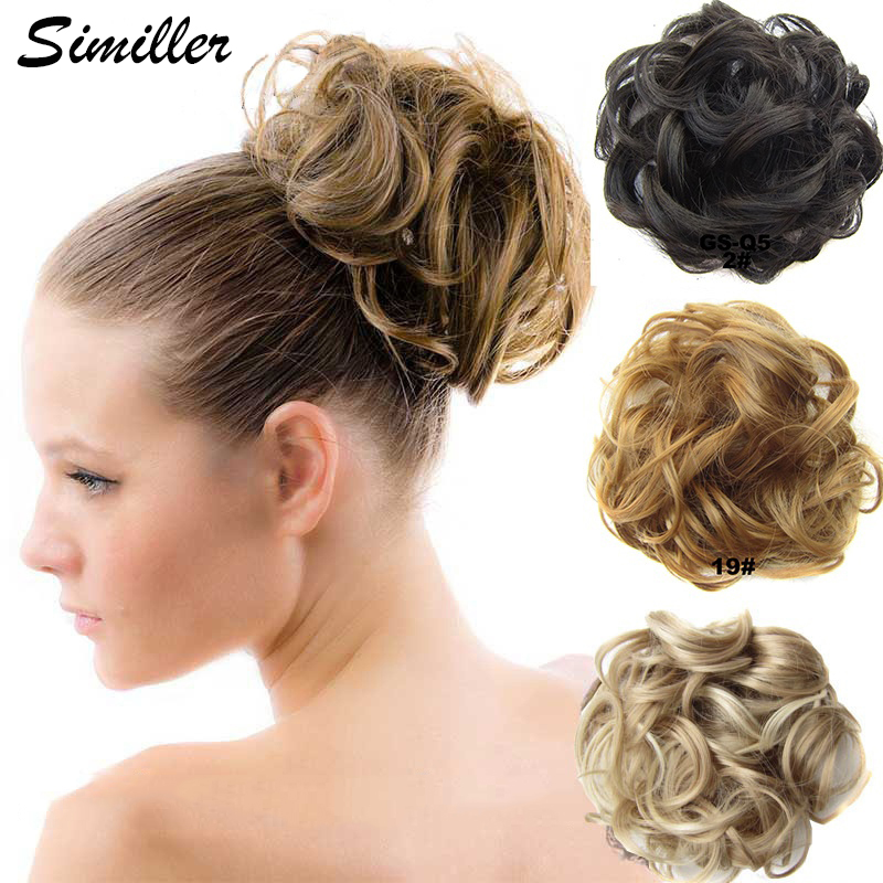 Similler Synthetic Hair Bun Chignon Ladies Ponytail Hair Extension Scrunchie Elastic Wave Curly Hairpieces Scrunchie Wrap