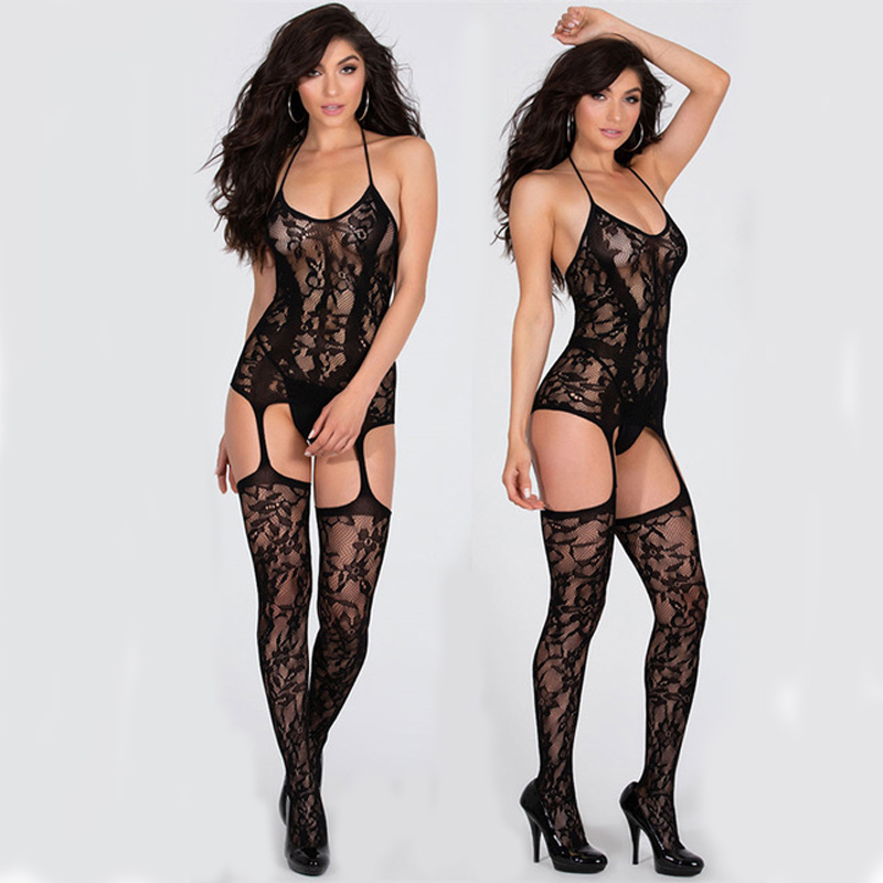 Sexy Body Suits Fetish Bodystocking Women Erotic Lingerie Porno Babydoll Crotchless Body Suit Underwear Costumes Latex Catsuit 4