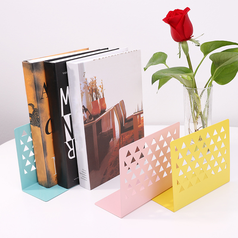 1pcs Metal Hollow Book Stand Library Bookends Bookshelf Stand Supports Office School Supplies