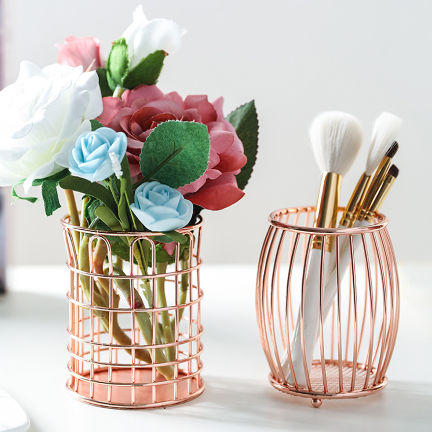 Rose Gold Wrought Iron Wire Pen Holder Makeup Brush Storage Organizer Pencil Cup Holders Desktop Home Stationery Container