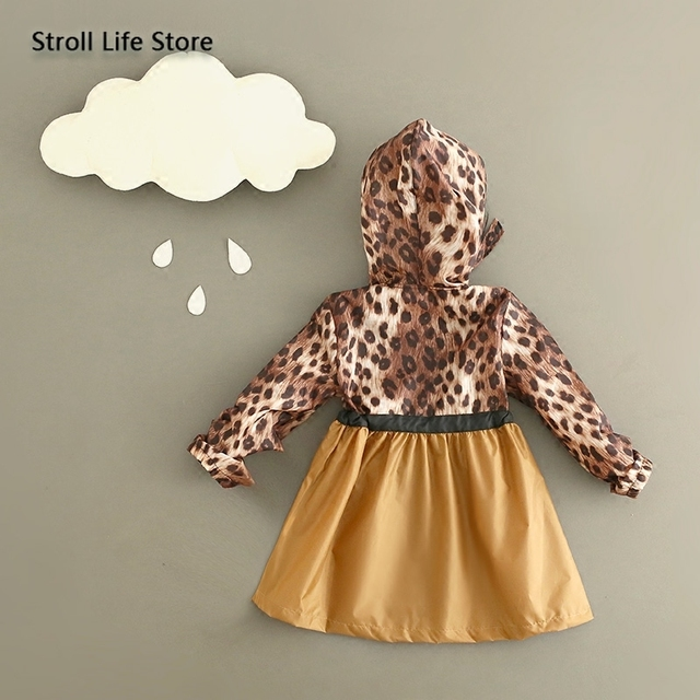 Leopard Print Raincoat Kids Girl's Rain Coat Cover Japanese Children Yellow Long Rain Poncho Jacket Waterproof Suit Gift Ideas 2