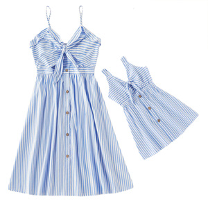 Mommy and Me Dress Family Matching Outfits Summer Fashion Sleeveless Striped Dress for Mother Daughter Parent Child Family Look