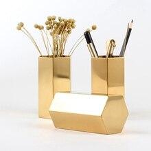 Nordic Style Gold Vase Hexagonal Pen Tube Diamond Makeup Brush Storage Home Desktop Decoration