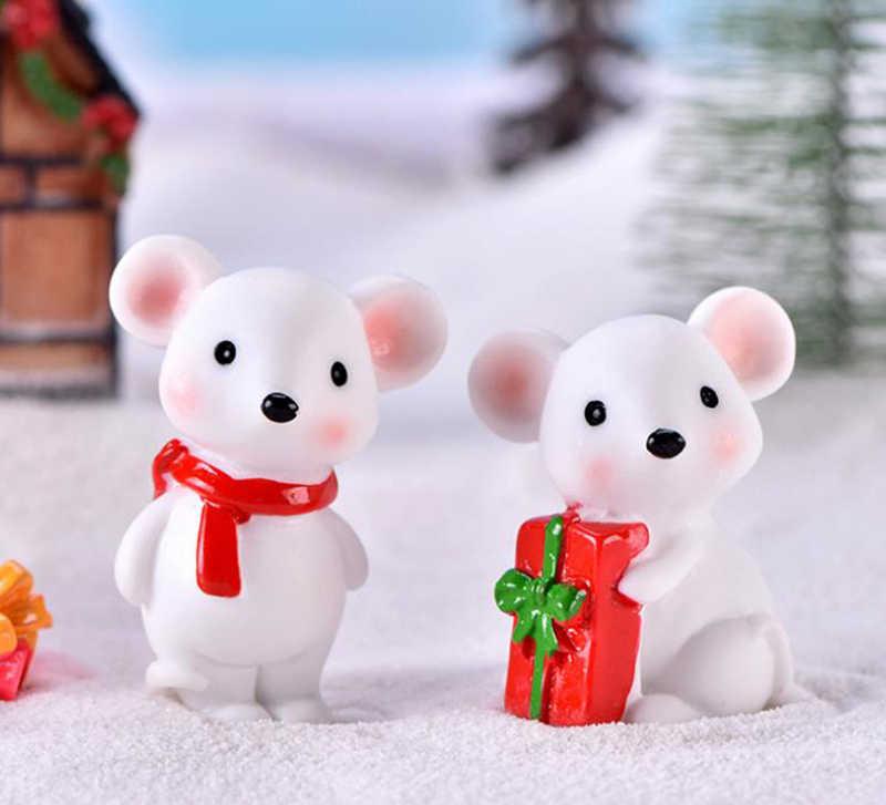 2020 新年マスコットマウスモデルの装飾品漫画の動物の子供クリスマスギフトマイクロ風景の装飾フィギュアおもちゃ 1 ピース