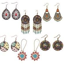 TopHanqi Wholesale 6Pairs Colorful Beads Round Tassel Water Drop Earrings Women Female Boho Ethnic Jewelry Orecchini Pendenti