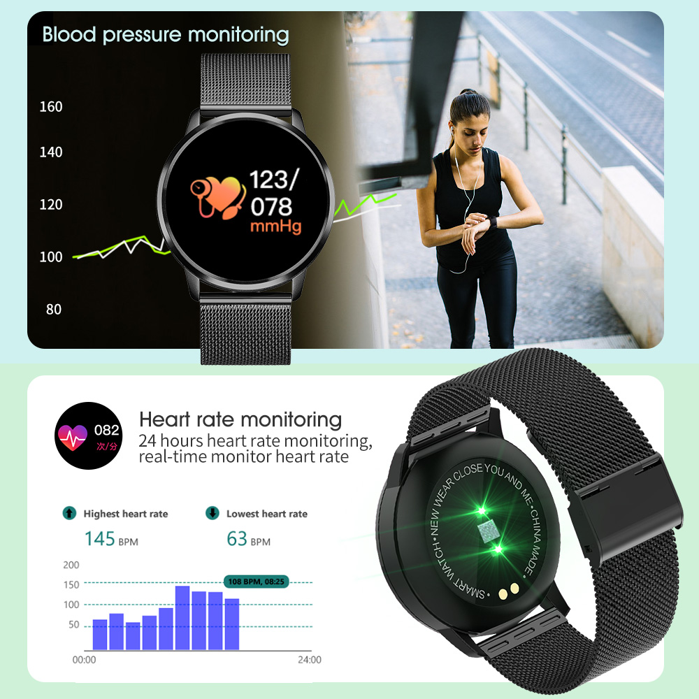 CYUC Q8 Smart Watch OLED with Color Screen for men's Fashion and Fitness Tracker also Monitors Heart Rate Blood Pressure 1