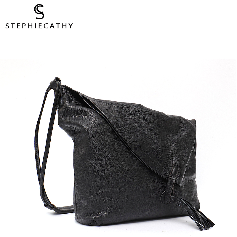 SC Real Leather Vintage Lady Tote Bag Casual Design Large Genuine Leather Handbags Ladies Tassel Messenger