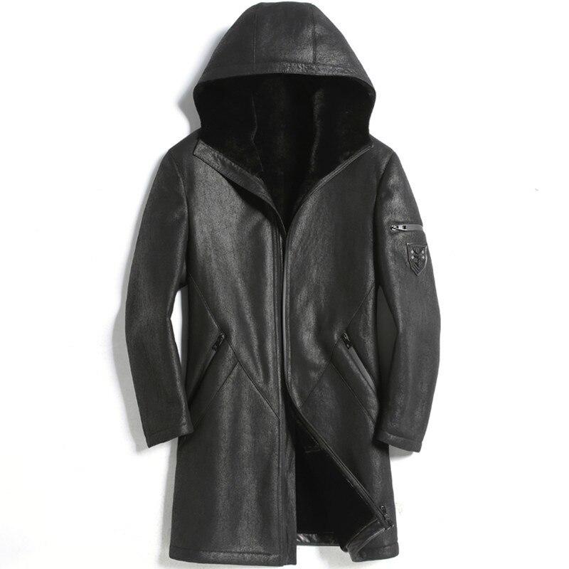 Real Fur Coat Men Sheep Shearing Winter Coat Men Genuine Leather Jacket Men Hooded Jacket For Mens Clothes Casaco 1817 YY911
